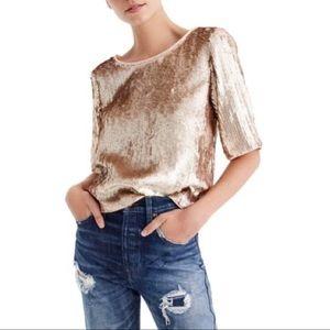 NWT J. CREW Rose Gold Sequin Crop Top